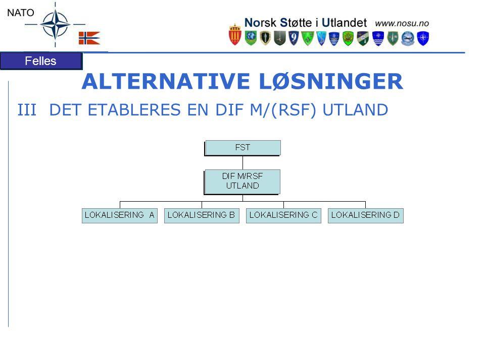 Felles ALTERNATIVE LØSNINGER III DET ETABLERES EN DIF M/(RSF) UTLAND