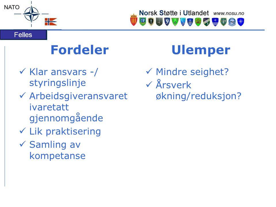 Felles Fordeler Ulemper Klar ansvars -/ styringslinje Arbeidsgiveransvaret ivaretatt gjennomgående Lik praktisering Samling av kompetanse Mindre seighet.