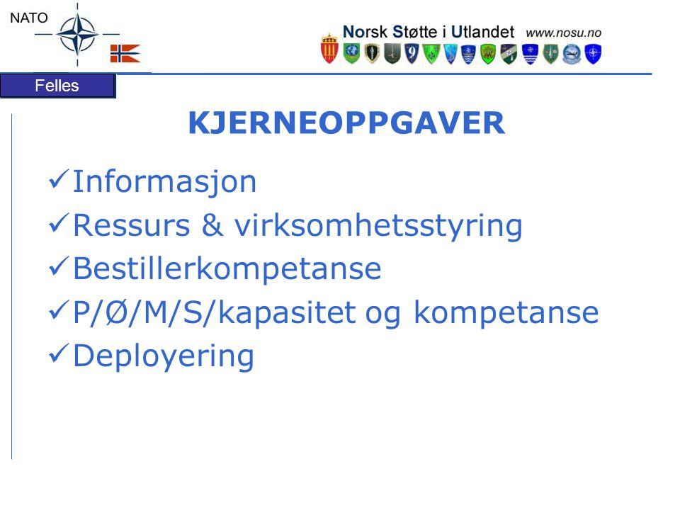 Felles KJERNEOPPGAVER Informasjon Ressurs & virksomhetsstyring Bestillerkompetanse P/Ø/M/S/kapasitet og kompetanse Deployering