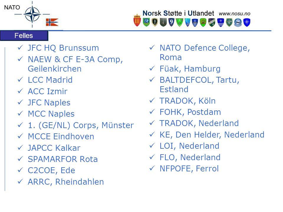 Felles JFC HQ Brunssum NAEW & CF E-3A Comp, Geilenkirchen LCC Madrid ACC Izmir JFC Naples MCC Naples 1. (GE/NL) Corps, Münster MCCE Eindhoven JAPCC Ka