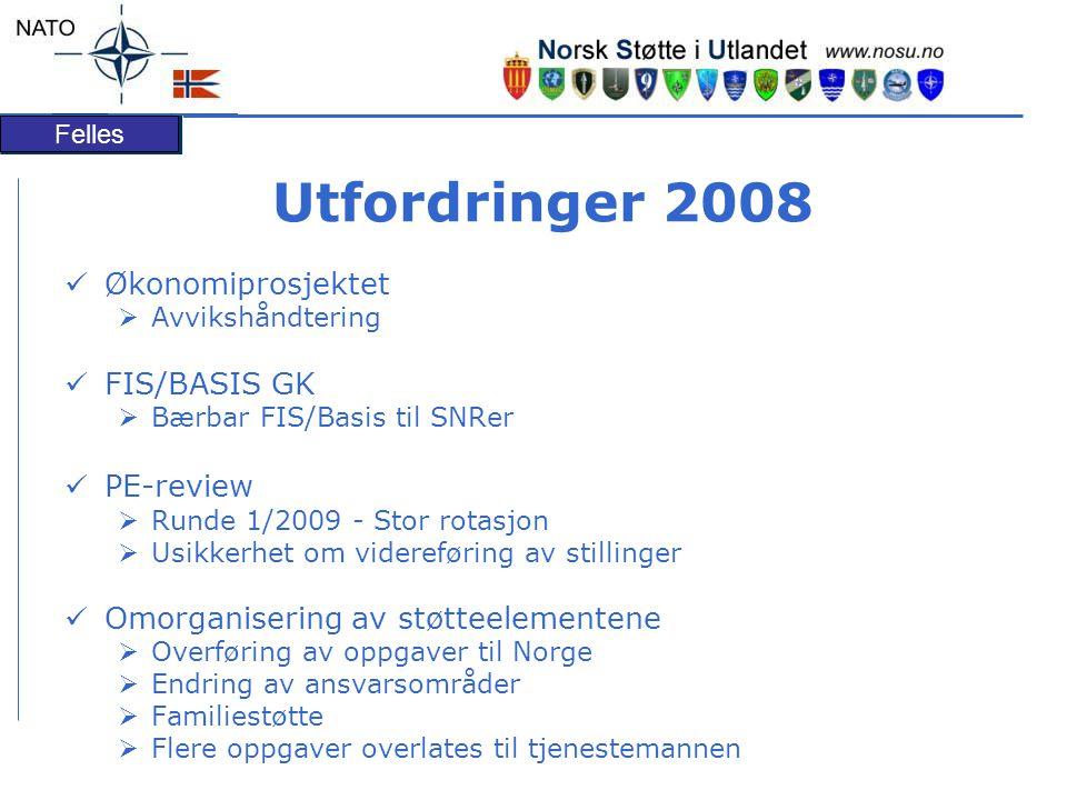 Felles Utfordringer 2008 Økonomiprosjektet  Avvikshåndtering FIS/BASIS GK  Bærbar FIS/Basis til SNRer PE-review  Runde 1/2009 - Stor rotasjon  Usi