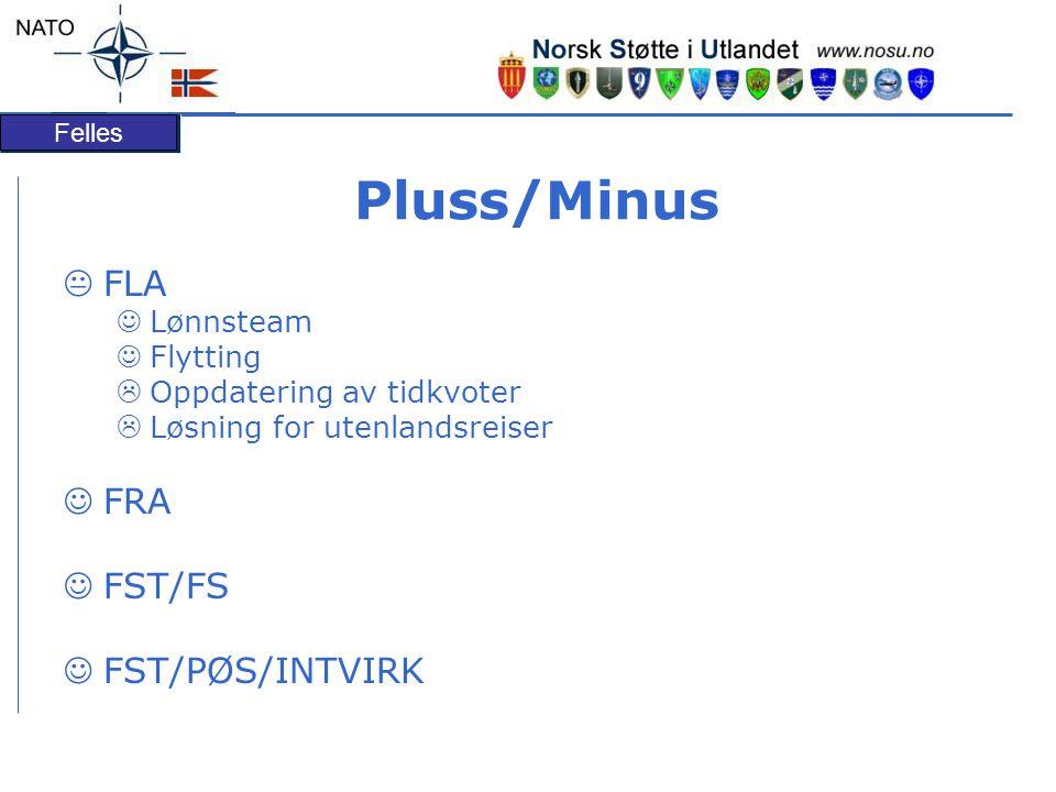 Felles Pluss/Minus  FLA Lønnsteam Flytting  Oppdatering av tidkvoter  Løsning for utenlandsreiser FRA FST/FS FST/PØS/INTVIRK