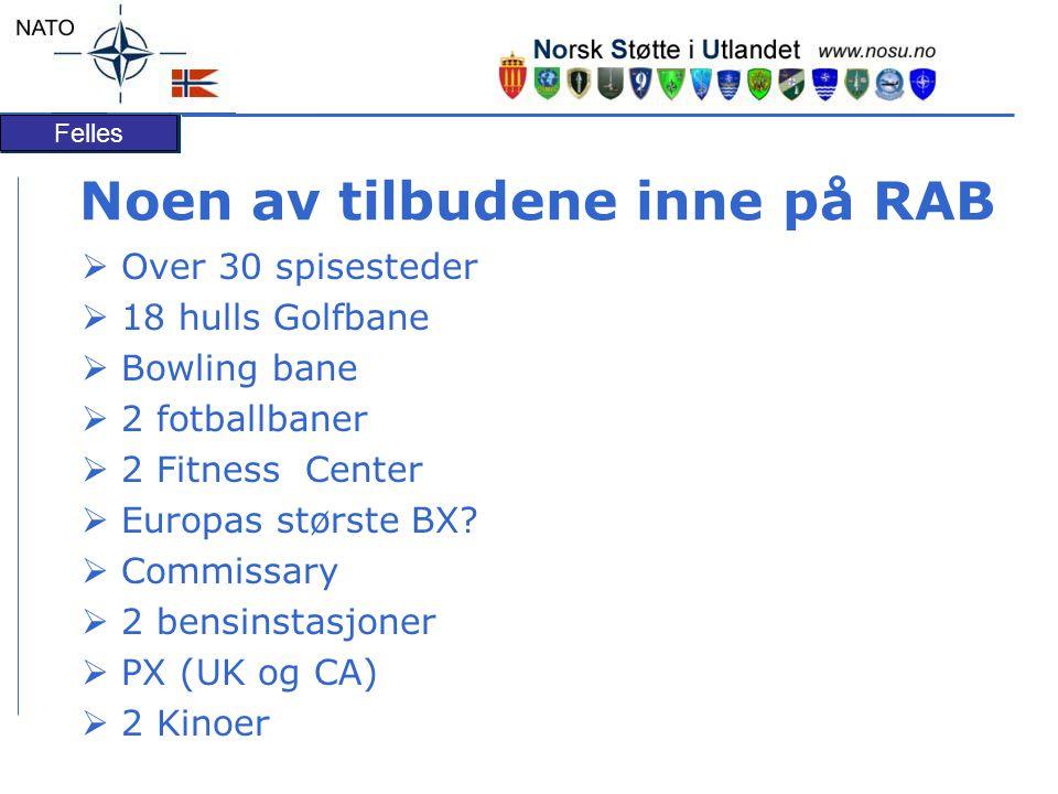 Felles Noen av tilbudene inne på RAB  Over 30 spisesteder  18 hulls Golfbane  Bowling bane  2 fotballbaner  2 Fitness Center  Europas største BX.