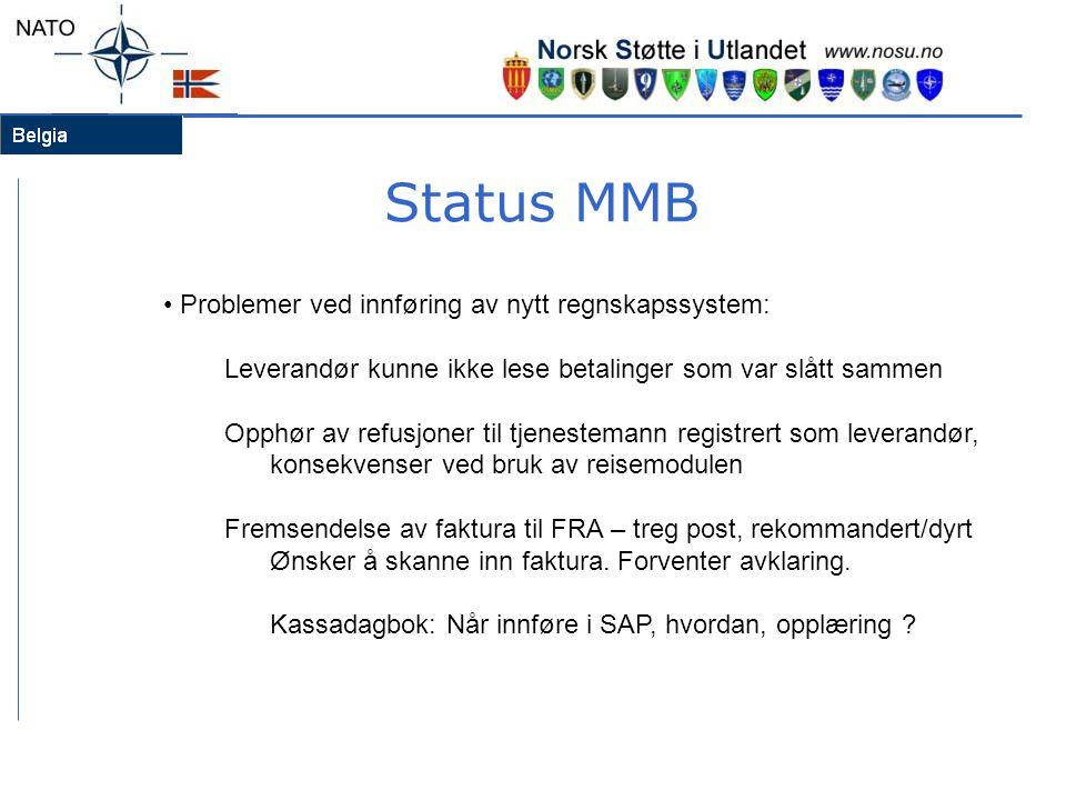 Status MMB Problemer ved innføring av nytt regnskapssystem: Leverandør kunne ikke lese betalinger som var slått sammen Opphør av refusjoner til tjenes