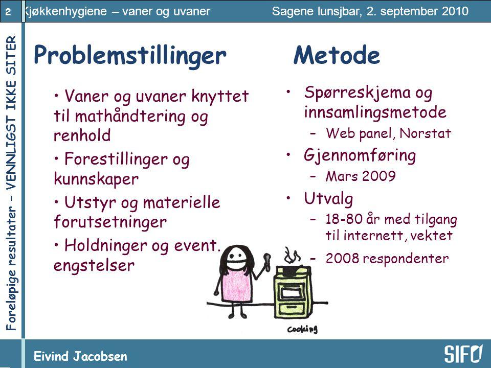 2 Kjøkkenhygiene – vaner og uvaner Sagene lunsjbar, 2. september 2010 Eivind Jacobsen Foreløpige resultater – VENNLIGST IKKE SITER! Problemstillinger