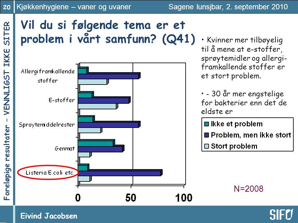 20 Kjøkkenhygiene – vaner og uvaner Sagene lunsjbar, 2. september 2010 Eivind Jacobsen Foreløpige resultater – VENNLIGST IKKE SITER! Vil du si følgend