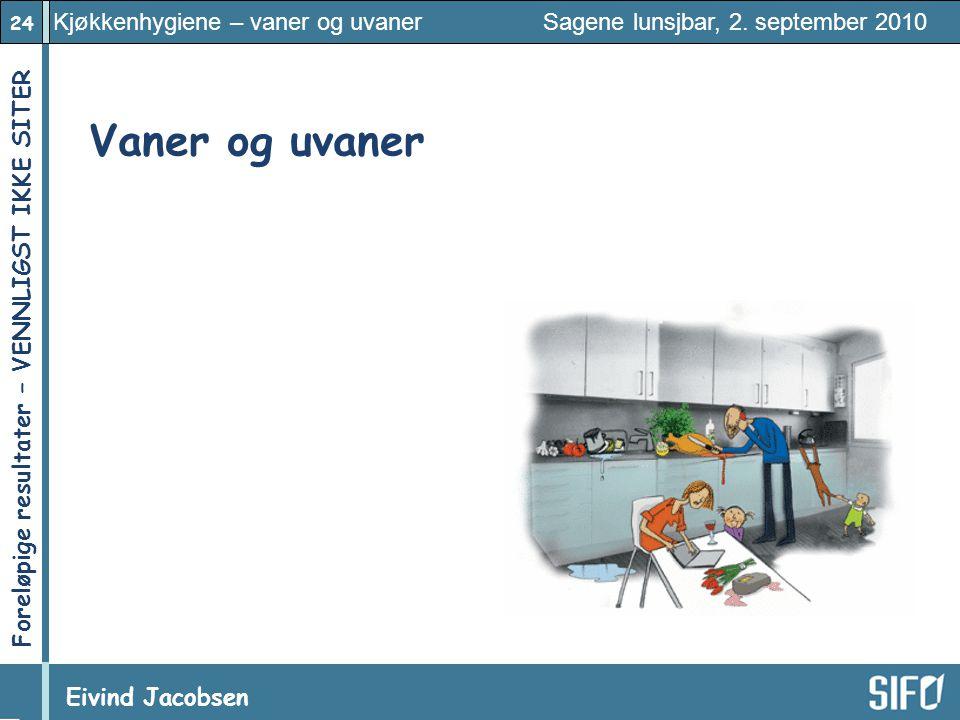 24 Kjøkkenhygiene – vaner og uvaner Sagene lunsjbar, 2. september 2010 Eivind Jacobsen Foreløpige resultater – VENNLIGST IKKE SITER! Vaner og uvaner