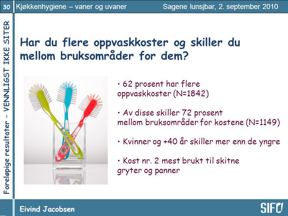 30 Kjøkkenhygiene – vaner og uvaner Sagene lunsjbar, 2. september 2010 Eivind Jacobsen Foreløpige resultater – VENNLIGST IKKE SITER! Har du flere oppv