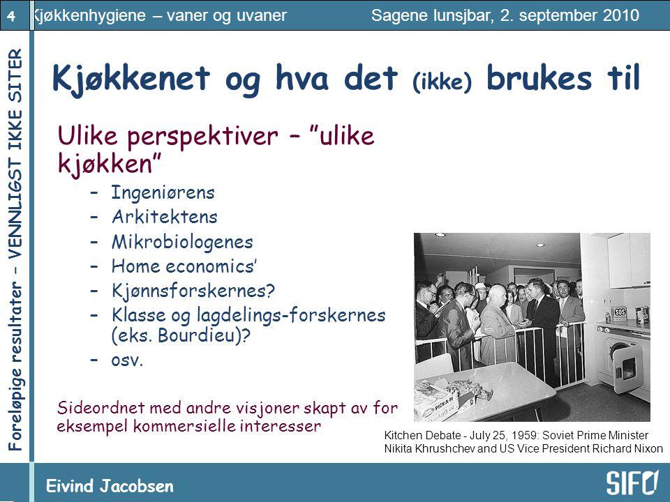 4 Kjøkkenhygiene – vaner og uvaner Sagene lunsjbar, 2. september 2010 Eivind Jacobsen Foreløpige resultater – VENNLIGST IKKE SITER! Kjøkkenet og hva d