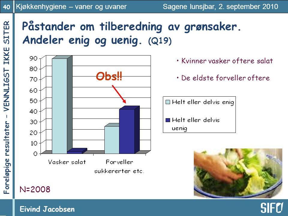 40 Kjøkkenhygiene – vaner og uvaner Sagene lunsjbar, 2. september 2010 Eivind Jacobsen Foreløpige resultater – VENNLIGST IKKE SITER! Påstander om tilb