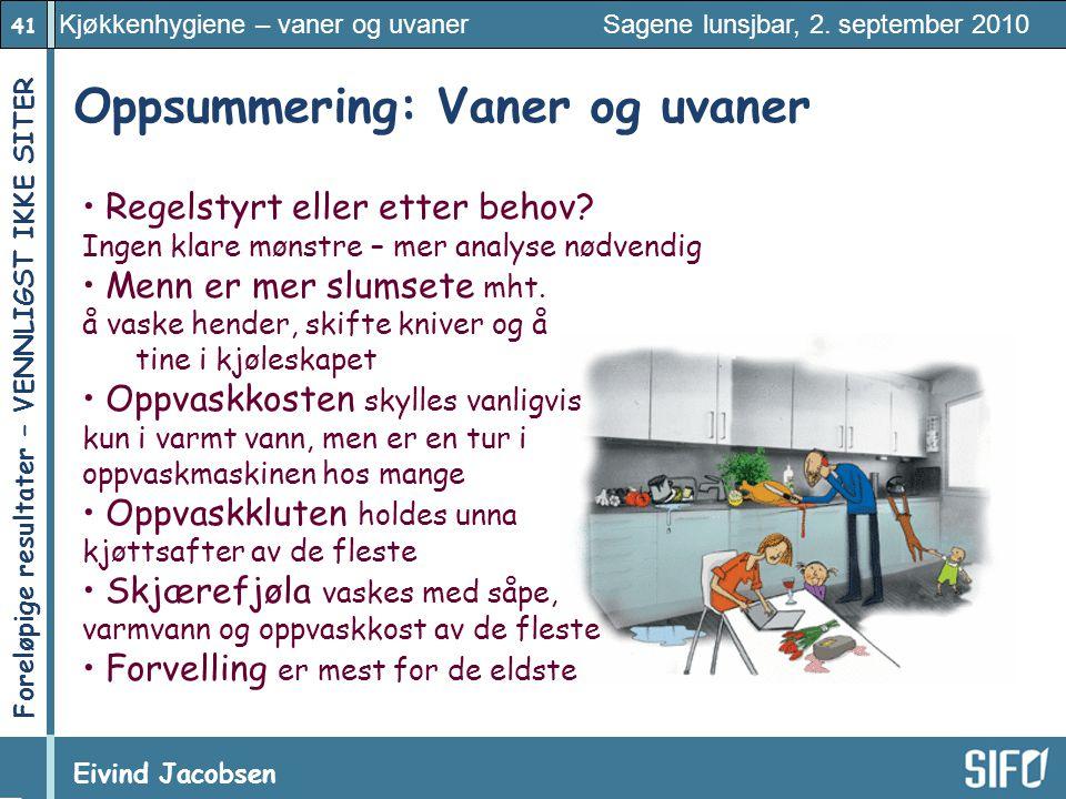 41 Kjøkkenhygiene – vaner og uvaner Sagene lunsjbar, 2. september 2010 Eivind Jacobsen Foreløpige resultater – VENNLIGST IKKE SITER! Oppsummering: Van