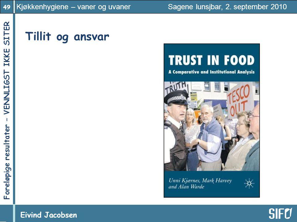 49 Kjøkkenhygiene – vaner og uvaner Sagene lunsjbar, 2. september 2010 Eivind Jacobsen Foreløpige resultater – VENNLIGST IKKE SITER! Tillit og ansvar