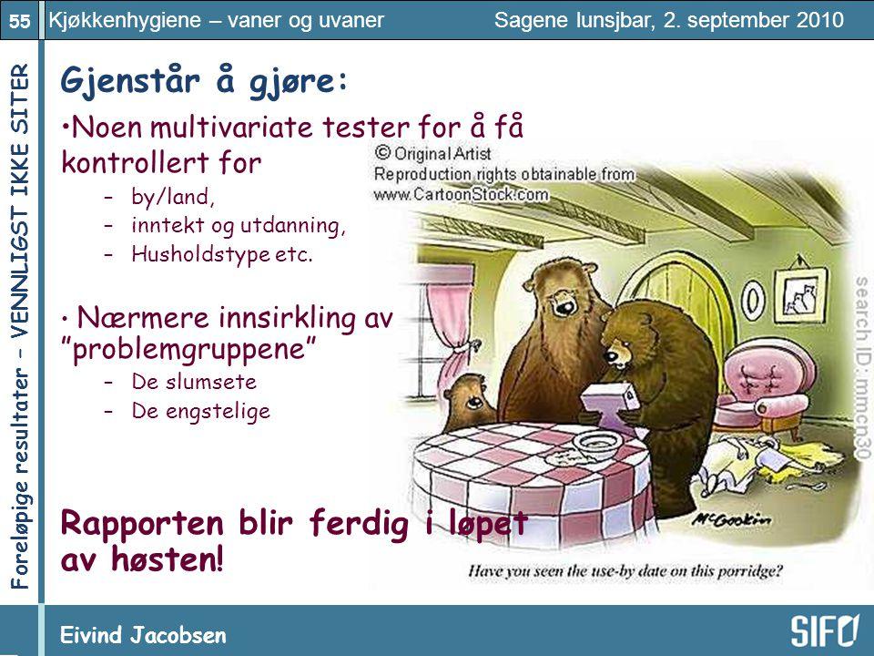 55 Kjøkkenhygiene – vaner og uvaner Sagene lunsjbar, 2. september 2010 Eivind Jacobsen Foreløpige resultater – VENNLIGST IKKE SITER! Gjenstår å gjøre: