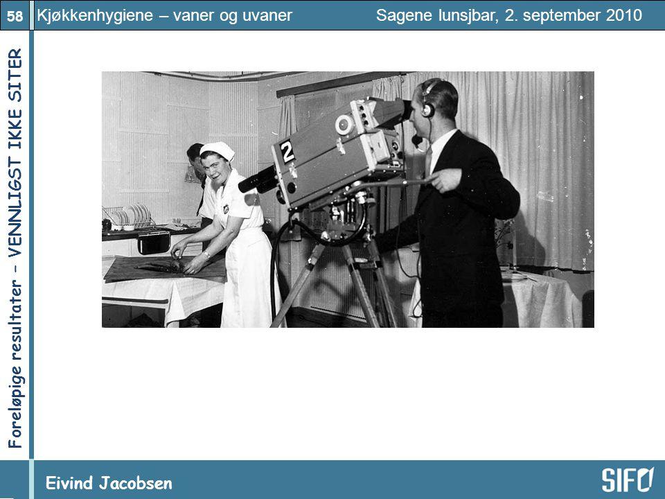 58 Kjøkkenhygiene – vaner og uvaner Sagene lunsjbar, 2. september 2010 Eivind Jacobsen Foreløpige resultater – VENNLIGST IKKE SITER!