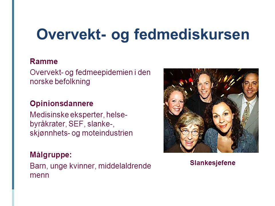 Overvekt- og fedmediskursen Ramme Overvekt- og fedmeepidemien i den norske befolkning Opinionsdannere Medisinske eksperter, helse- byråkrater, SEF, sl
