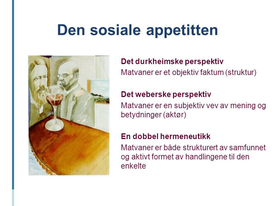 Den sosiale appetitten Det durkheimske perspektiv Matvaner er et objektiv faktum (struktur) Det weberske perspektiv Matvaner er en subjektiv vev av me