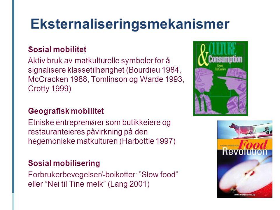 Eksternaliseringsmekanismer Sosial mobilitet Aktiv bruk av matkulturelle symboler for å signalisere klassetilhørighet (Bourdieu 1984, McCracken 1988,