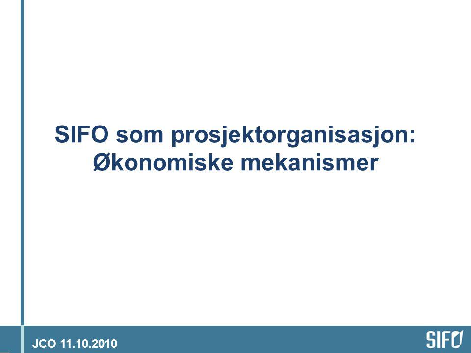 JCO 11.10.2010 SIFO i urtiden Basisbevilgning Lønn Husleie Adm Etc Inntekter: Kostnader: