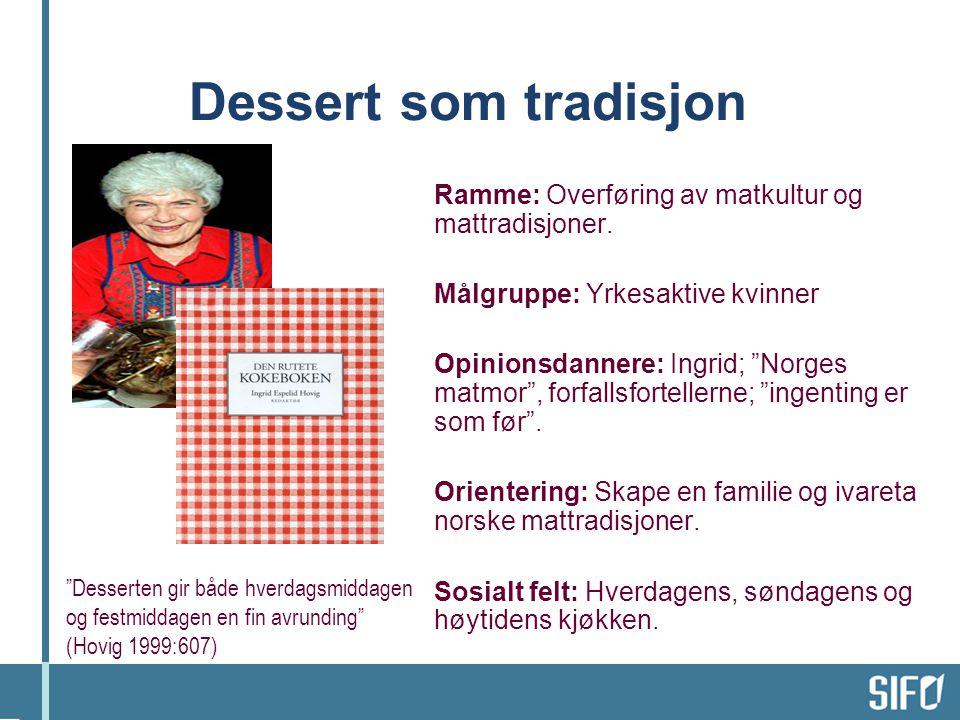 """Dessert som tradisjon Ramme: Overføring av matkultur og mattradisjoner. Målgruppe: Yrkesaktive kvinner Opinionsdannere: Ingrid; """"Norges matmor"""", forfa"""