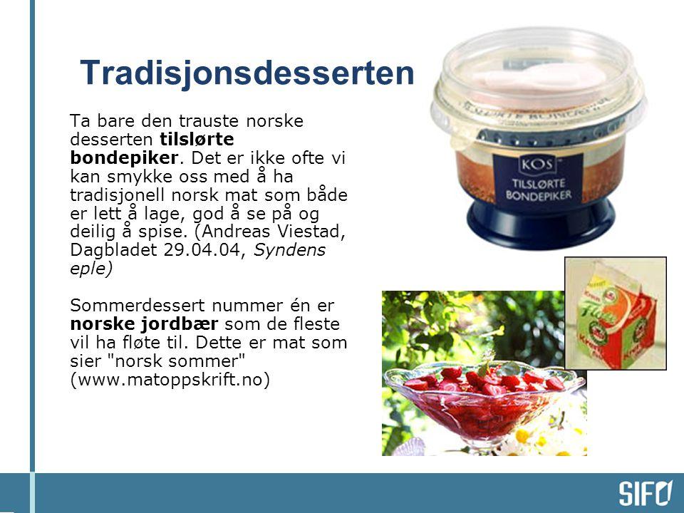 Tradisjonsdesserten Ta bare den trauste norske desserten tilslørte bondepiker. Det er ikke ofte vi kan smykke oss med å ha tradisjonell norsk mat som