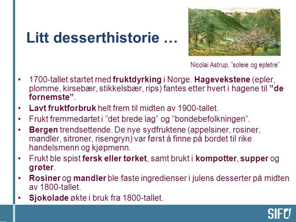 Litt desserthistorie … 1700-tallet startet med fruktdyrking i Norge. Hagevekstene (epler, plomme, kirsebær, stikkelsbær, rips) fantes etter hvert i ha
