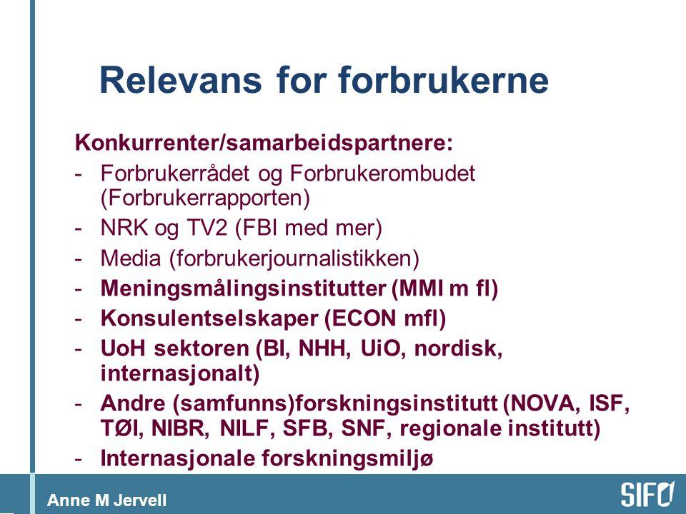 Anne M Jervell Relevans for forbrukerne Konkurrenter/samarbeidspartnere: -Forbrukerrådet og Forbrukerombudet (Forbrukerrapporten) -NRK og TV2 (FBI med mer) -Media (forbrukerjournalistikken) -Meningsmålingsinstitutter (MMI m fl) -Konsulentselskaper (ECON mfl) -UoH sektoren (BI, NHH, UiO, nordisk, internasjonalt) -Andre (samfunns)forskningsinstitutt (NOVA, ISF, TØI, NIBR, NILF, SFB, SNF, regionale institutt) -Internasjonale forskningsmiljø
