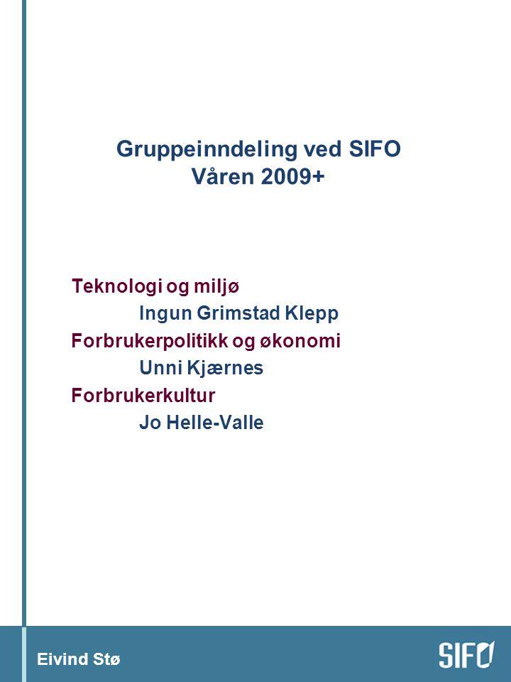 Eivind Stø Gruppeinndeling ved SIFO Våren 2009+ Teknologi og miljø Ingun Grimstad Klepp Forbrukerpolitikk og økonomi Unni Kjærnes Forbrukerkultur Jo Helle-Valle