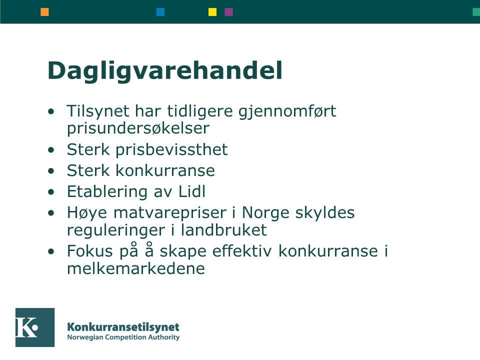 Dagligvarehandel Tilsynet har tidligere gjennomført prisundersøkelser Sterk prisbevissthet Sterk konkurranse Etablering av Lidl Høye matvarepriser i Norge skyldes reguleringer i landbruket Fokus på å skape effektiv konkurranse i melkemarkedene