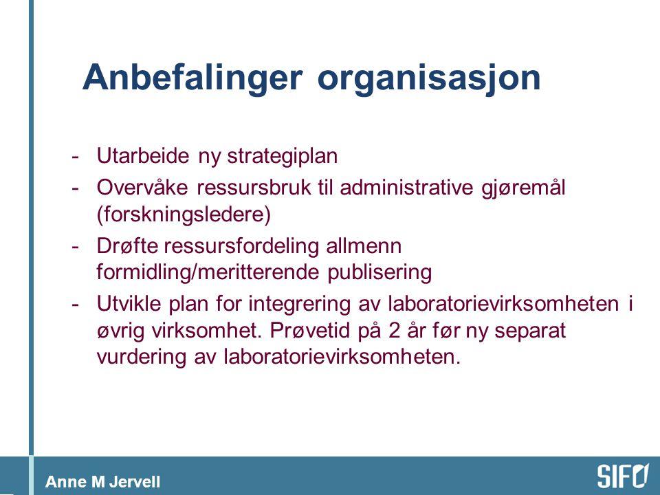 Anne M Jervell Anbefalinger organisasjon -Utarbeide ny strategiplan -Overvåke ressursbruk til administrative gjøremål (forskningsledere) -Drøfte ressursfordeling allmenn formidling/meritterende publisering -Utvikle plan for integrering av laboratorievirksomheten i øvrig virksomhet.
