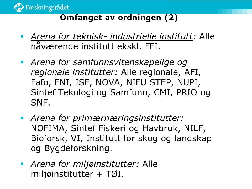Omfanget av ordningen (2)  Arena for teknisk- industrielle institutt: Alle nåværende institutt ekskl.