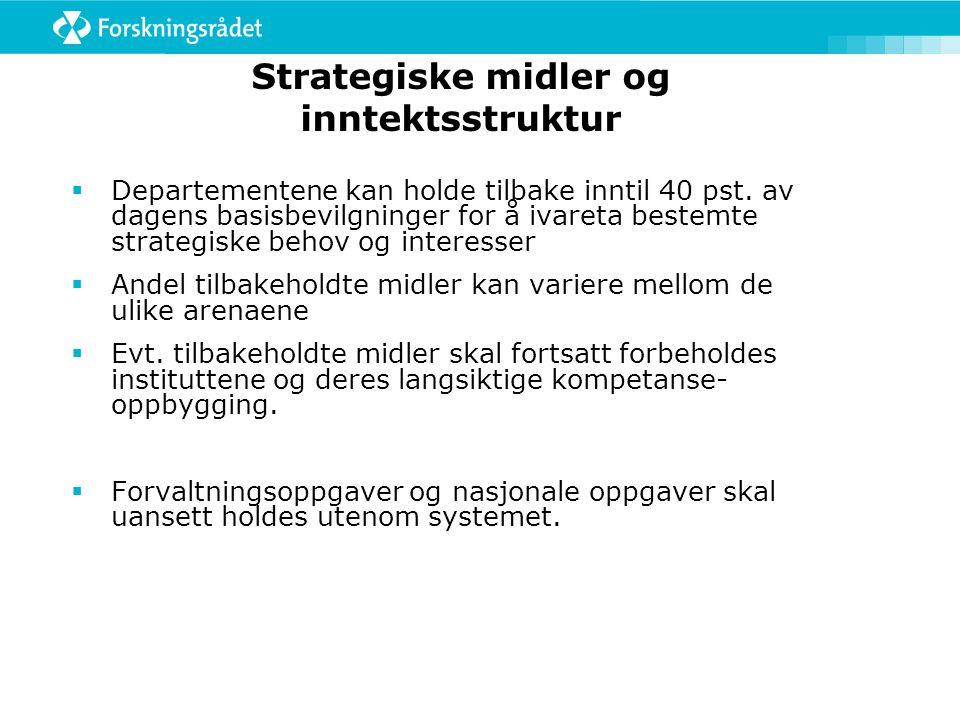 Strategiske midler og inntektsstruktur  Departementene kan holde tilbake inntil 40 pst.