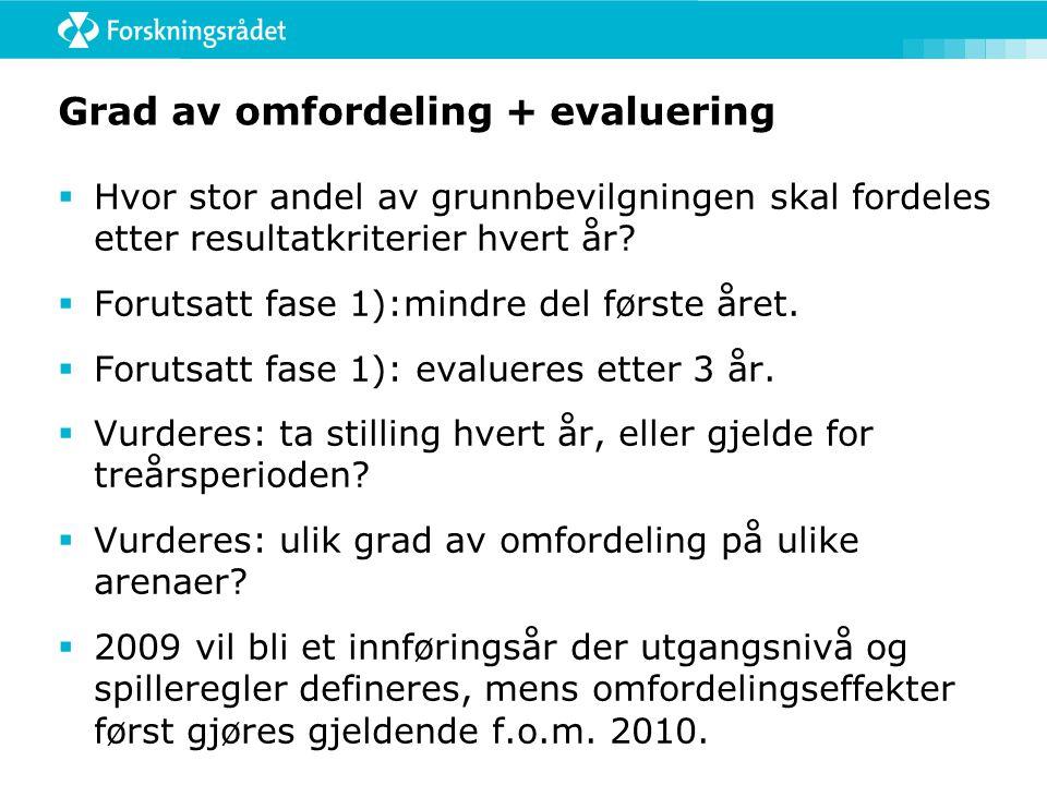 Grad av omfordeling + evaluering  Hvor stor andel av grunnbevilgningen skal fordeles etter resultatkriterier hvert år.