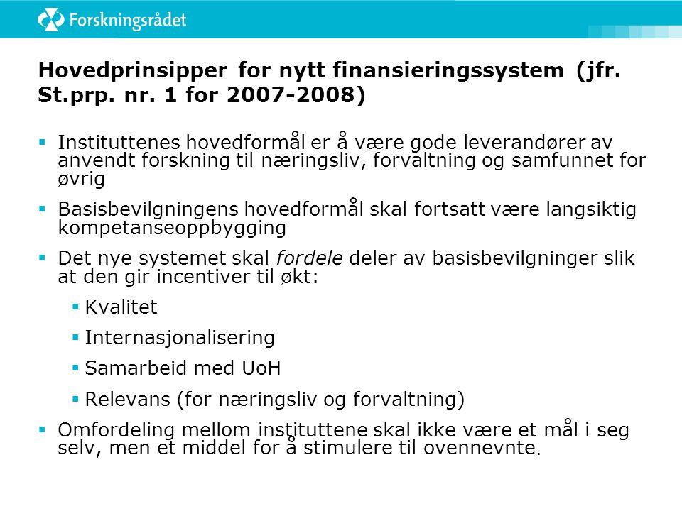 Hovedprinsipper for nytt finansieringssystem (jfr.