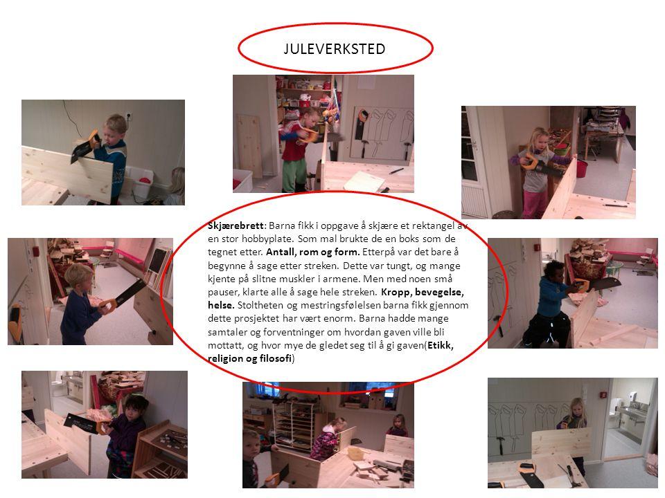 JULEVERKSTED Skjærebrett: Barna fikk i oppgave å skjære et rektangel av en stor hobbyplate. Som mal brukte de en boks som de tegnet etter. Antall, rom