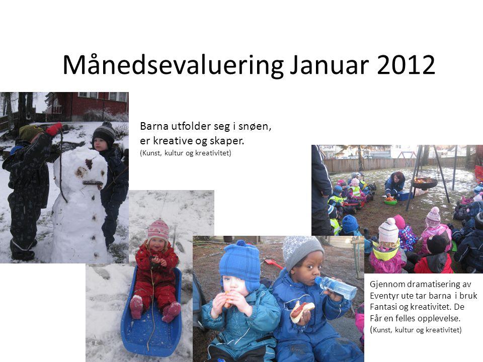 Månedsevaluering Januar 2012 Barna utfolder seg i snøen, er kreative og skaper. (Kunst, kultur og kreativitet) Gjennom dramatisering av Eventyr ute ta