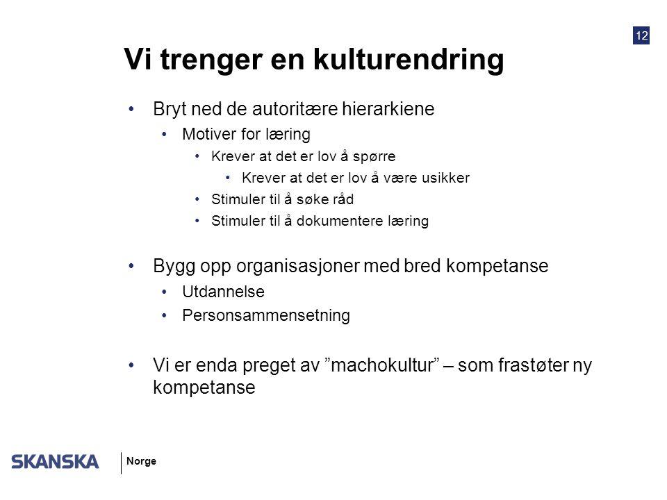 12 Norge Vi trenger en kulturendring Bryt ned de autoritære hierarkiene Motiver for læring Krever at det er lov å spørre Krever at det er lov å være u