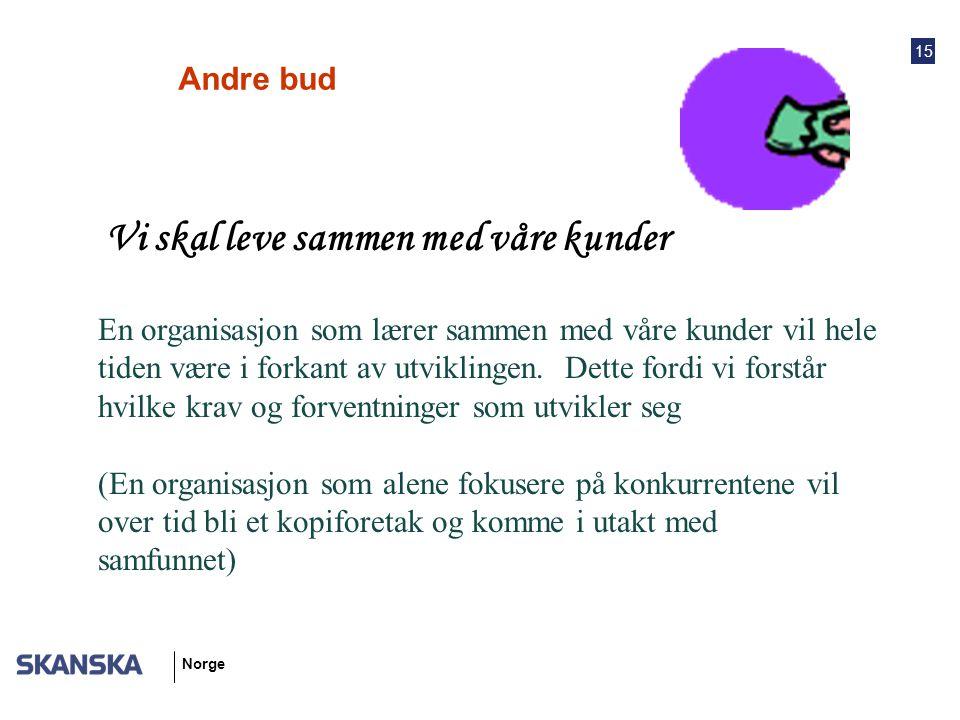 15 Norge Andre bud Vi skal leve sammen med våre kunder En organisasjon som lærer sammen med våre kunder vil hele tiden være i forkant av utviklingen.