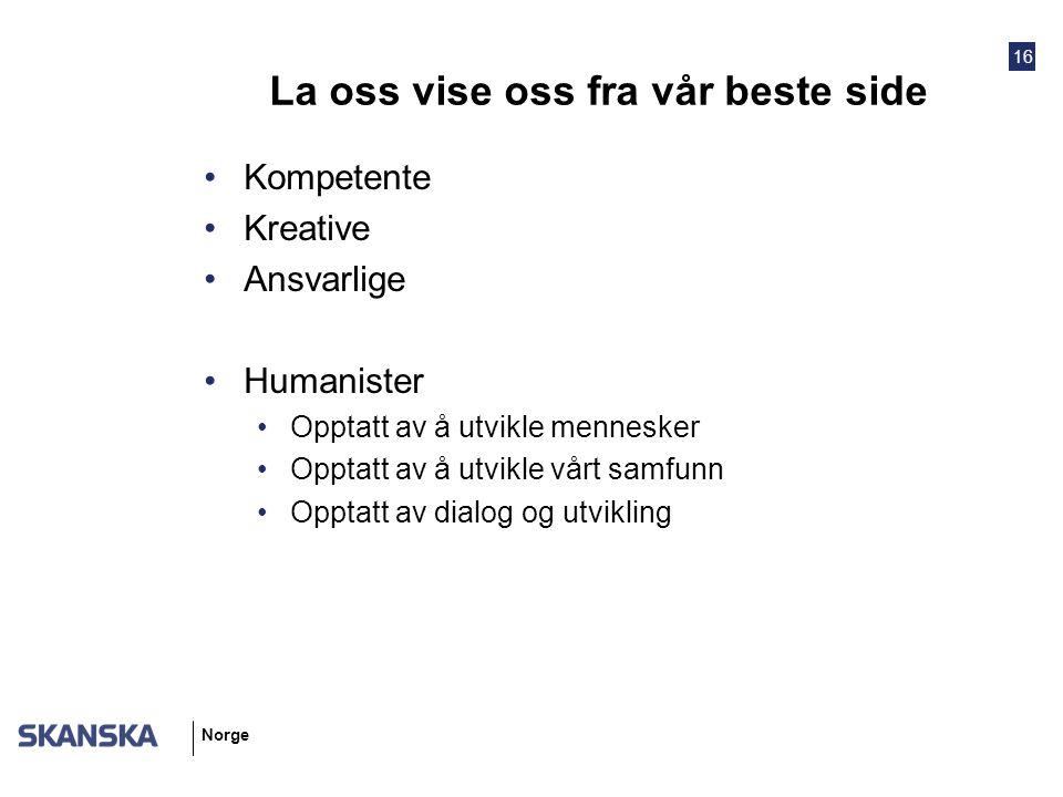16 Norge La oss vise oss fra vår beste side Kompetente Kreative Ansvarlige Humanister Opptatt av å utvikle mennesker Opptatt av å utvikle vårt samfunn Opptatt av dialog og utvikling