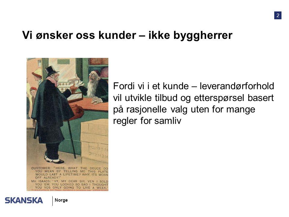 2 Norge Vi ønsker oss kunder – ikke byggherrer Fordi vi i et kunde – leverandørforhold vil utvikle tilbud og etterspørsel basert på rasjonelle valg uten for mange regler for samliv