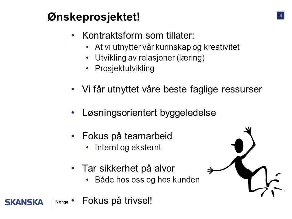 4 Norge Ønskeprosjektet! Kontraktsform som tillater: At vi utnytter vår kunnskap og kreativitet Utvikling av relasjoner (læring) Prosjektutvikling Vi