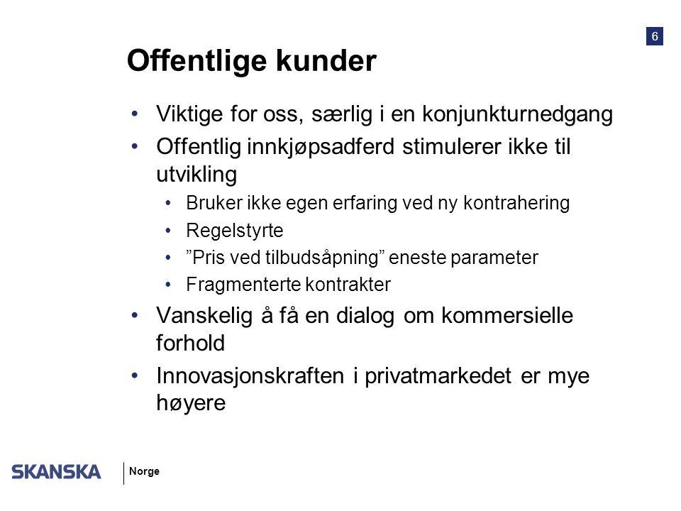 6 Norge Offentlige kunder Viktige for oss, særlig i en konjunkturnedgang Offentlig innkjøpsadferd stimulerer ikke til utvikling Bruker ikke egen erfar