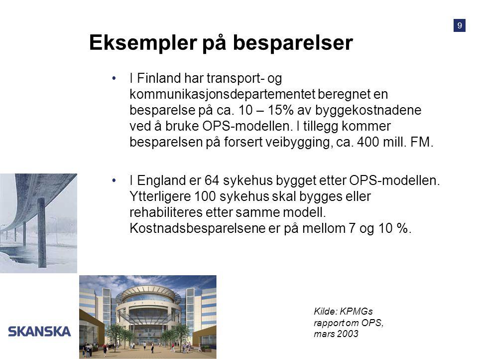 9 Norge Eksempler på besparelser I Finland har transport- og kommunikasjonsdepartementet beregnet en besparelse på ca. 10 – 15% av byggekostnadene ved