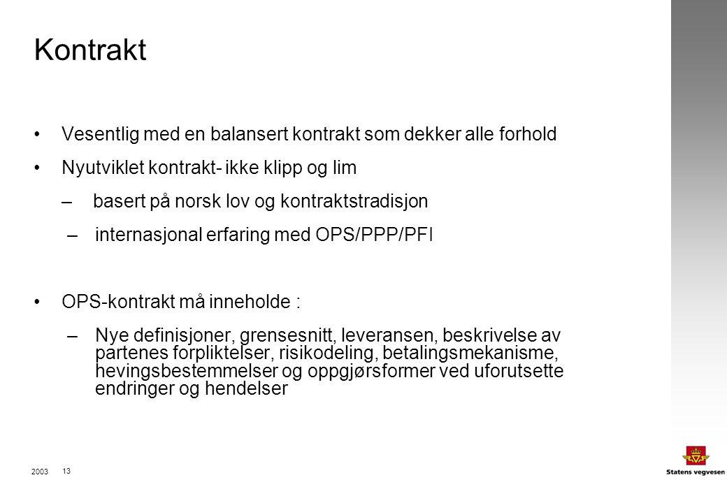 2003 13 Kontrakt Vesentlig med en balansert kontrakt som dekker alle forhold Nyutviklet kontrakt- ikke klipp og lim – basert på norsk lov og kontraktstradisjon –internasjonal erfaring med OPS/PPP/PFI OPS-kontrakt må inneholde : –Nye definisjoner, grensesnitt, leveransen, beskrivelse av partenes forpliktelser, risikodeling, betalingsmekanisme, hevingsbestemmelser og oppgjørsformer ved uforutsette endringer og hendelser