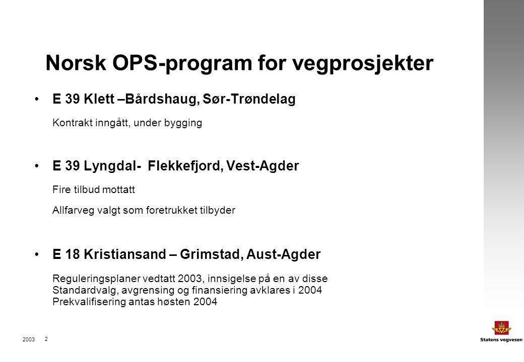 2003 2 Norsk OPS-program for vegprosjekter E 39 Klett –Bårdshaug, Sør-Trøndelag Kontrakt inngått, under bygging E 39 Lyngdal- Flekkefjord, Vest-Agder Fire tilbud mottatt Allfarveg valgt som foretrukket tilbyder E 18 Kristiansand – Grimstad, Aust-Agder Reguleringsplaner vedtatt 2003, innsigelse på en av disse Standardvalg, avgrensing og finansiering avklares i 2004 Prekvalifisering antas høsten 2004