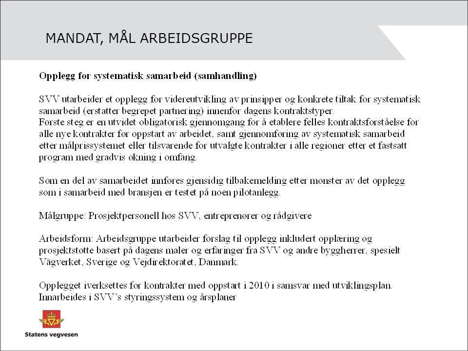 MANDAT, MÅL ARBEIDSGRUPPE