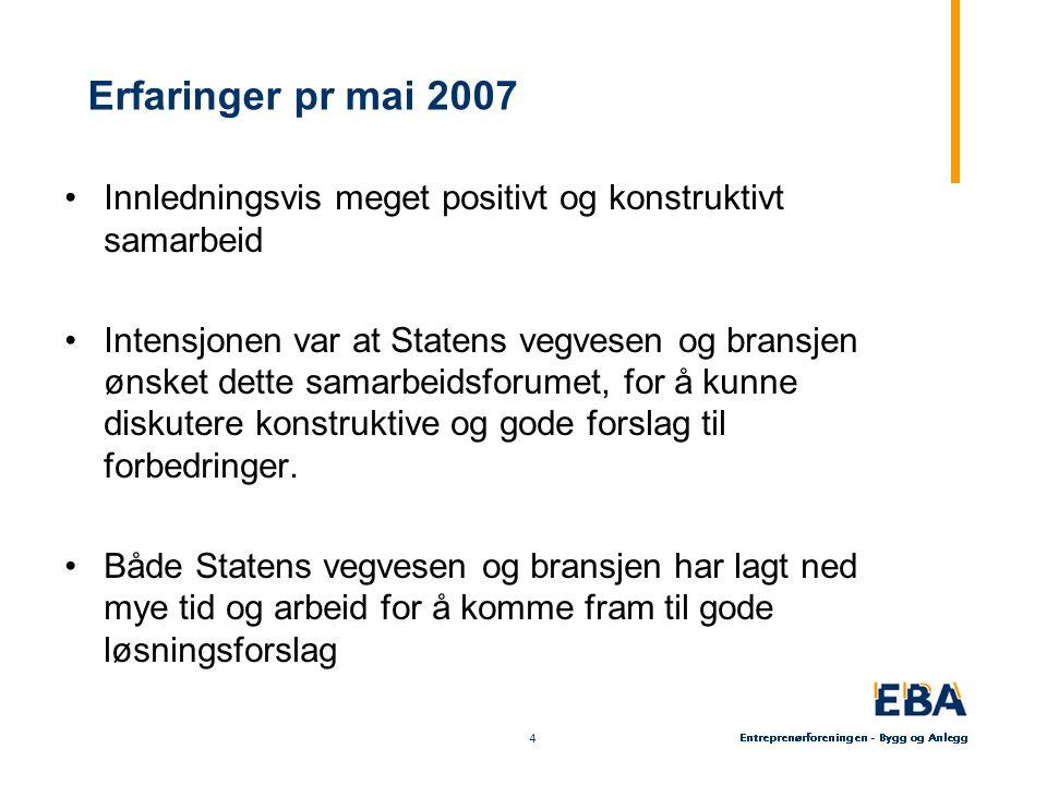 4 4 Erfaringer pr mai 2007 Innledningsvis meget positivt og konstruktivt samarbeid Intensjonen var at Statens vegvesen og bransjen ønsket dette samarbeidsforumet, for å kunne diskutere konstruktive og gode forslag til forbedringer.