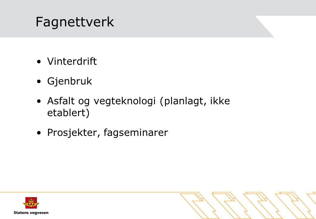 Fagnettverk Vinterdrift Gjenbruk Asfalt og vegteknologi (planlagt, ikke etablert) Prosjekter, fagseminarer
