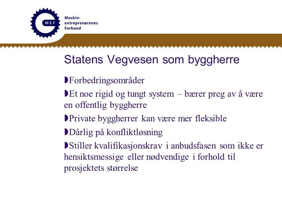 Statens Vegvesen som byggherre  Påstand fra SVV: Vi er opptatt av kvalitet – dere er kun opptatt av profitt