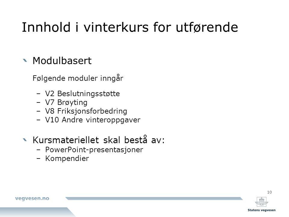 10 Innhold i vinterkurs for utførende Modulbasert Følgende moduler inngår –V2 Beslutningsstøtte –V7 Brøyting –V8 Friksjonsforbedring –V10 Andre vinter