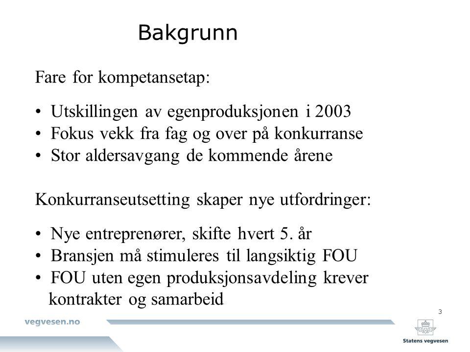3 Bakgrunn Fare for kompetansetap: Utskillingen av egenproduksjonen i 2003 Fokus vekk fra fag og over på konkurranse Stor aldersavgang de kommende åre